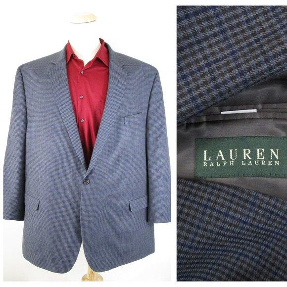 Ralph Lauren Big & Tall Blue Gray Check Sport Coat